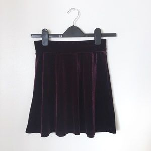 UO Pins + Needles Velvet Mini Circle Skirt